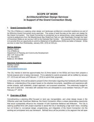 architectural design scope of work