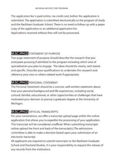 architecture program statement of purpose