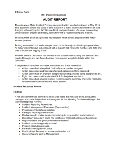 audit incident response report