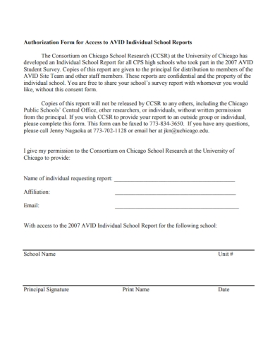 authorization form for individual school report