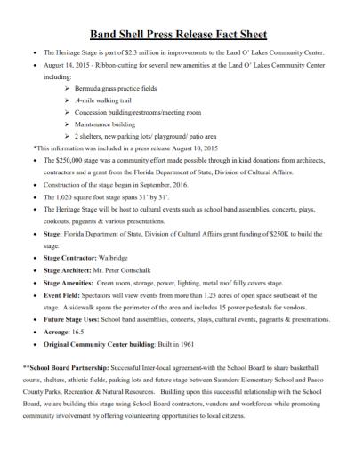 band shell press release fact sheet