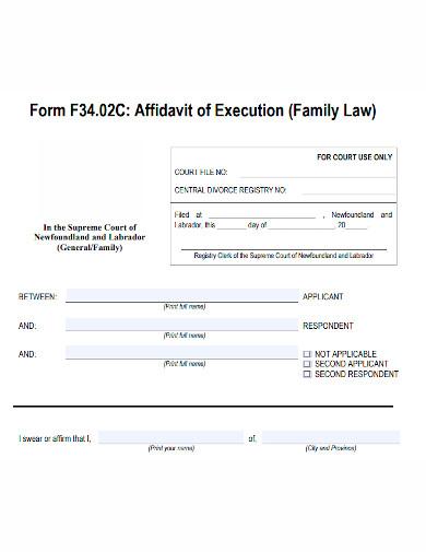 basic affidavit of execution