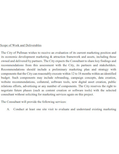 basic marketing scope of work