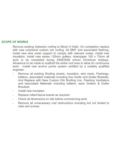 basic roofing scope of work