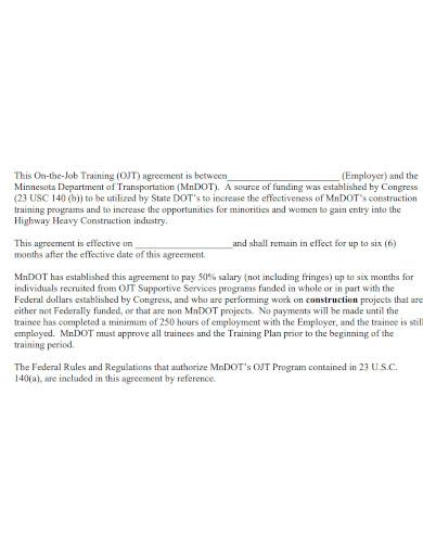 basic training reimbursement agreement