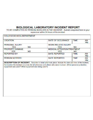 biological laboratory incident report
