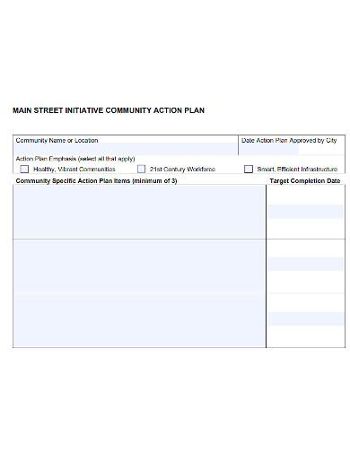 blank community action plan