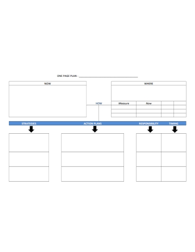 blank one page action plan