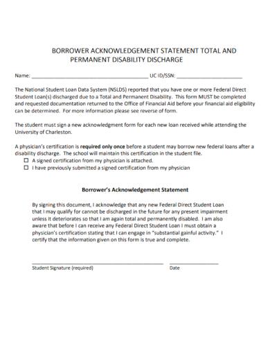 borrower acknowledgement statement