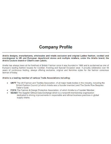boutique company profile format