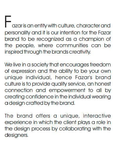 boutique company profile sample