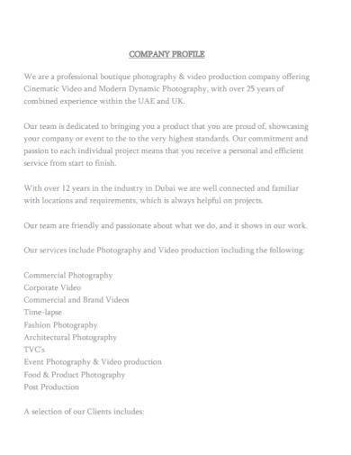 boutique photography company profile