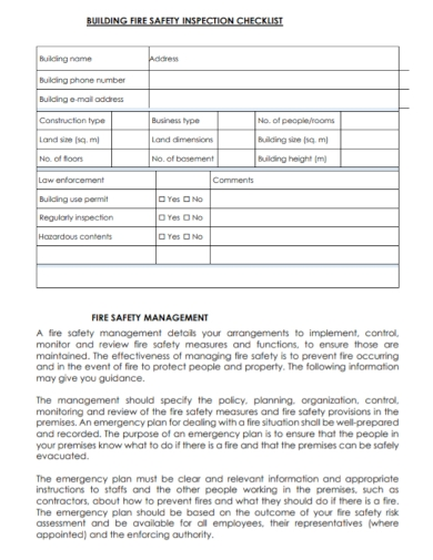 building safety management inspection checklist