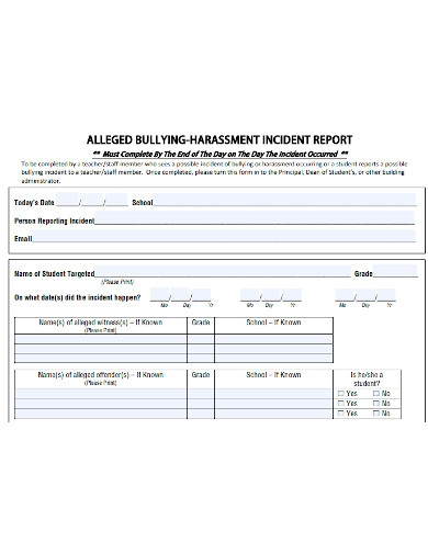 bullying harassment incident report