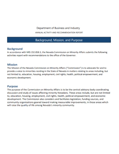 business activity recommendation report