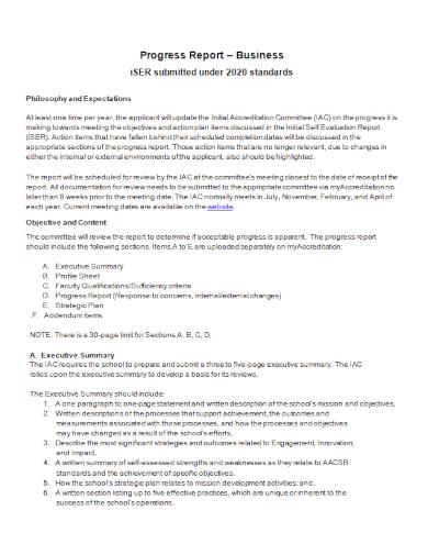 business committee progress report