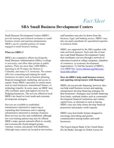 business development fact sheet