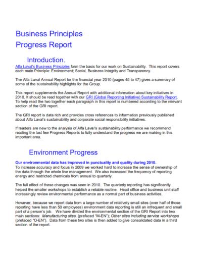 business environment progress report