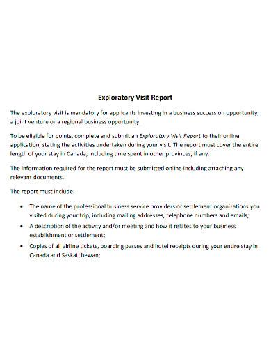 business exploratory visit report