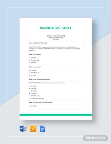 business fact sheet template