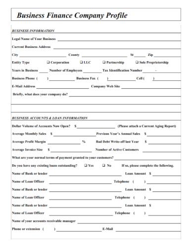 business finance company profile