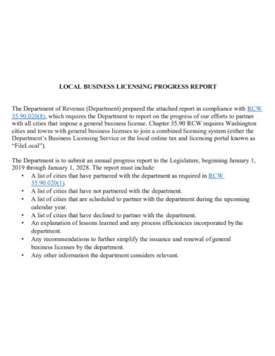 business licensing progress report
