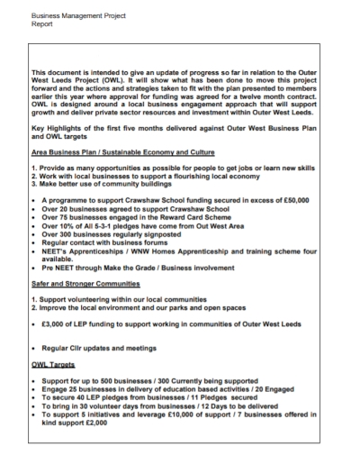 business management project report