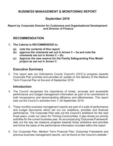 business management recommendation report
