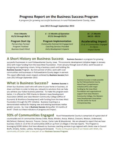 business program progress report