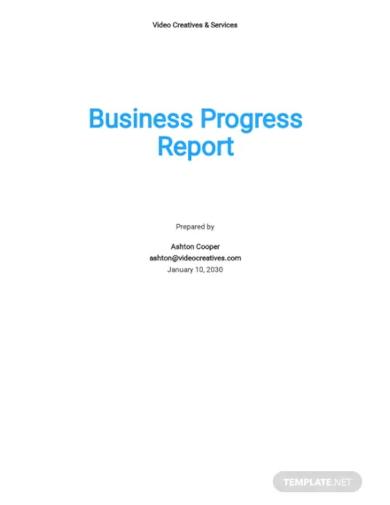 business progress report template