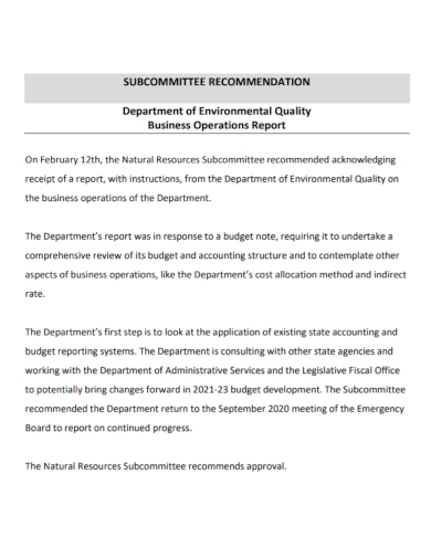business recommendation operations report