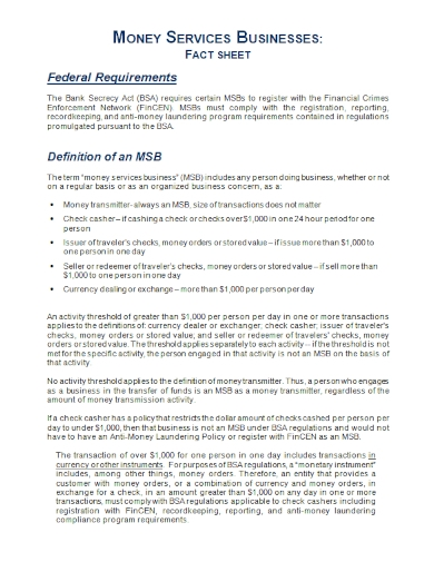 business services fact sheet