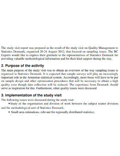 business study visit report