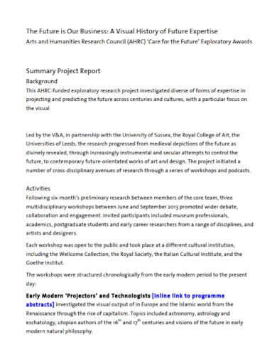 business summary project report