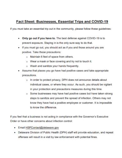business trip fact sheet