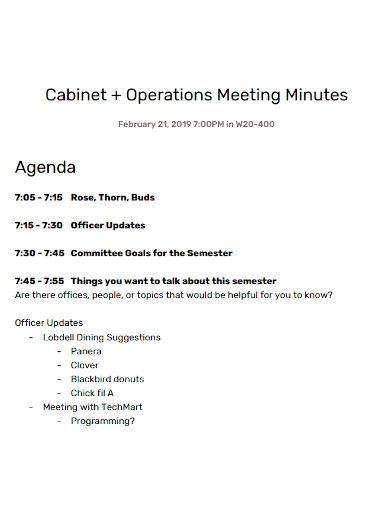 cabinet operations meeting minutes