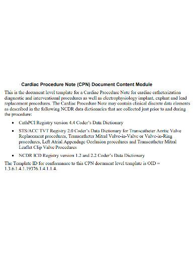 cardiac procedure note