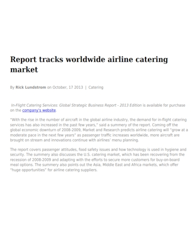 catering strategic business report
