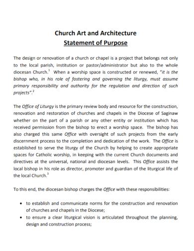 church architecture statement of purpose