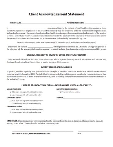 client acknowledgement statement