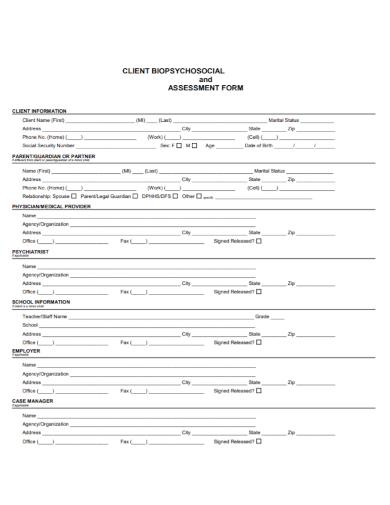 client biopsychosocial assessment form