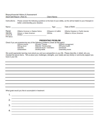 client biopsychosocial assessment self report