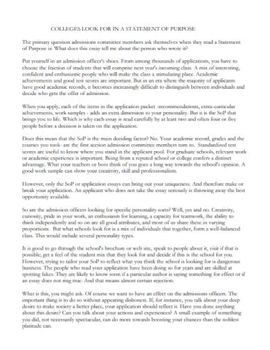 college admission statement of purpose