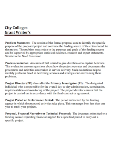college grant problem statement