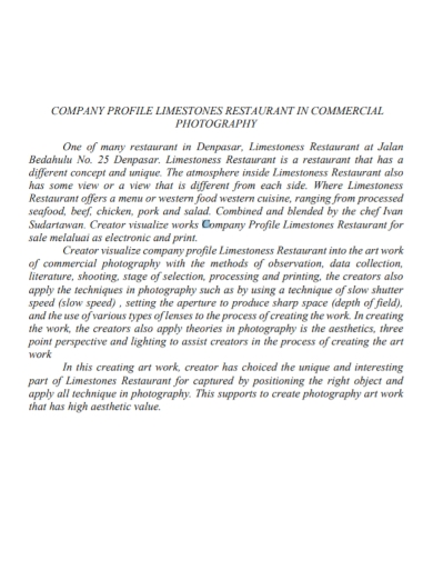 commercial photography company profile