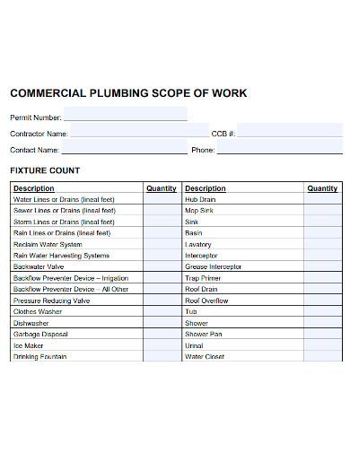 commercial plumbing scope of work