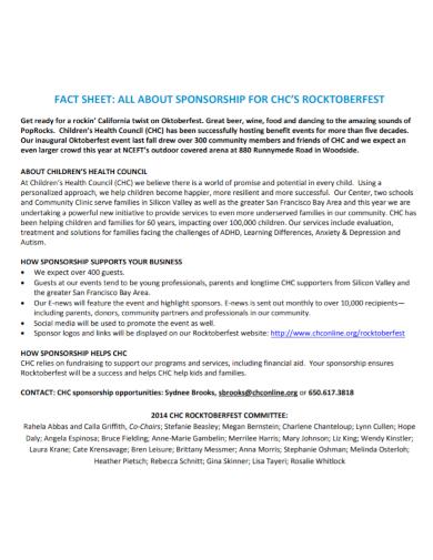 committee sponsorship fact sheet