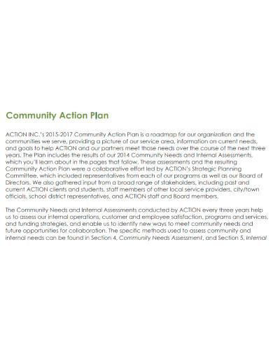 community action plan sample