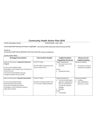 community health care action plan