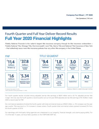 company financial fact sheet